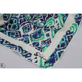 Foulard en soie - Ikat - bleu