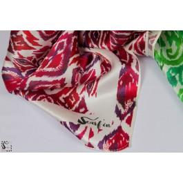 Foulard en soie - Ikat - rouge