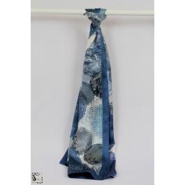 Châle en soie - Circle - Bleu