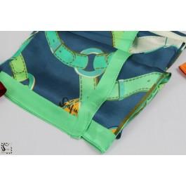 Châle en soie - Loop - vert & bleu