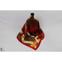 Châle en soie - Loop - marron & rouge