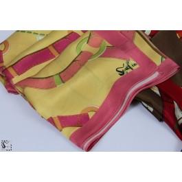 Châle en soie - Loop - jaune & rose