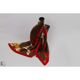 Foulard en soie - Loop - marron & rouge