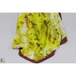 Châle en soie - Water - ton vert & marron