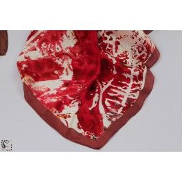 Foulard en soie - Water - ton rouge & marron