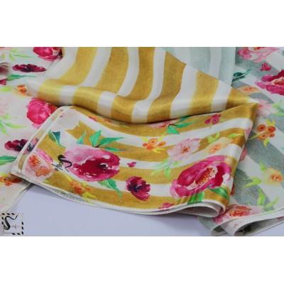 Foulard fleuri en soie - Bloomy - rayures dorées