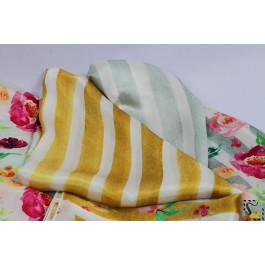 Foulard fleuri - Bloomy - rayures grises