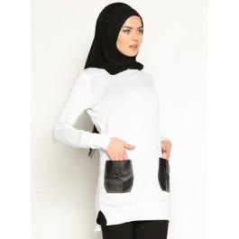 Pull tunique bi-matière avec poches