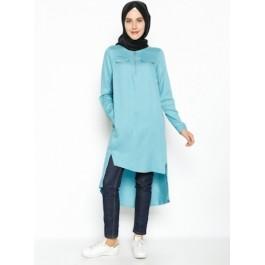 Tunique asymétrique avec zips et poche - turquoise