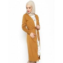Gilet long manches longues - camel