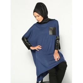 Tunique bi-matière bleu