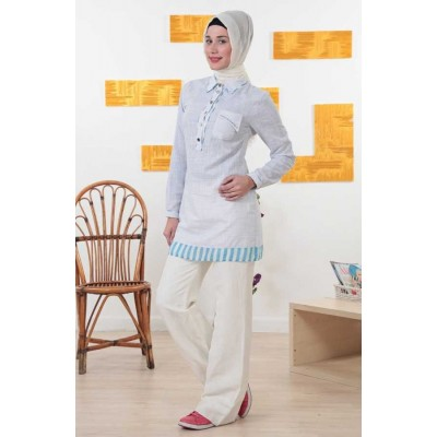Tunique bi-matière - col type chemise