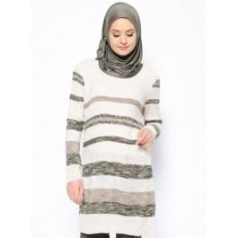 Pull tunique lainé à rayures