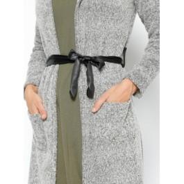 Cardigan long gris chiné à capuche