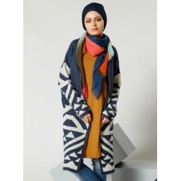 Cardigan oversize lainé imprimé ethnique