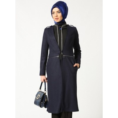 Manteau mi-long lainé à galons