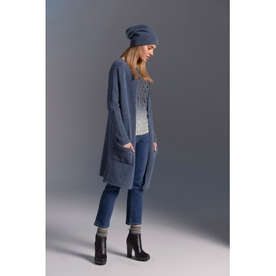 Cardigan oversize grosse maille à poches -  bleu