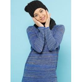 Robe pull bi-matière - bleu