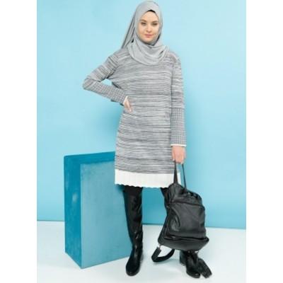 Robe pull bi-matière - gris
