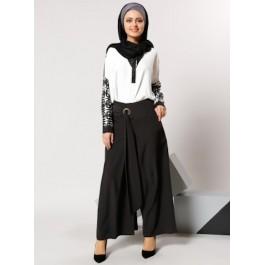 Pantalon noir large façon jupe-culotte