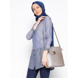 Pull chemise effet 2 en 1 - gris bleu