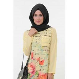 Tunique à  imprimé floral jaune pâle