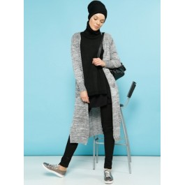 Cardigan long ouvert gris chiné