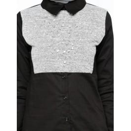 Pull chemise effet 2 en 1 - incrusté de strass