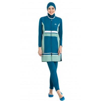 Maillot de bain hijab bleu & vert d'eau