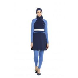 Maillot de bain hijab bleu nuit - bleu ciel