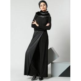 Combi-pantalon bi-matière effet robe