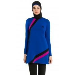 Maillot de bain hijab bleu roi - bandes noir & rose
