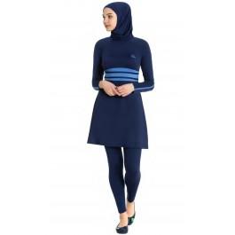 Maillot de bain hijab bleu nuit - bandes bleu ciel
