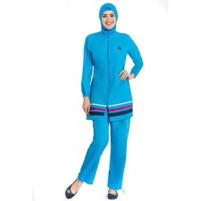Maillot de bain hijab bleu ciel avec bandes tricolores