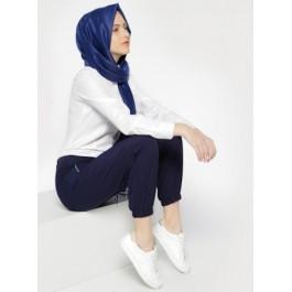 Pantalon sport raccourci - bleu