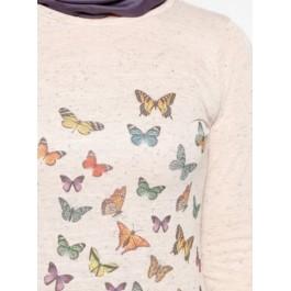 Pull tunique à imprimés papillons