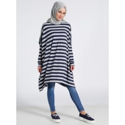 Pull tunique asymétrique à rayures - bleu