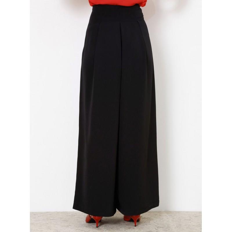 Pantalon Pantalon Noir Large Culotte Jupe Large derxBCo