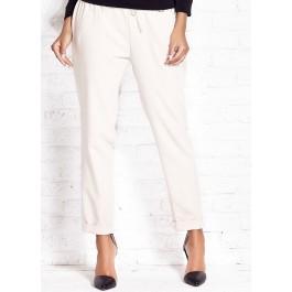 Pantalon city femme 7/8 avec revers - beige