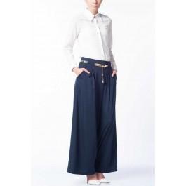 Pantalon bleu large façon jupe-culotte