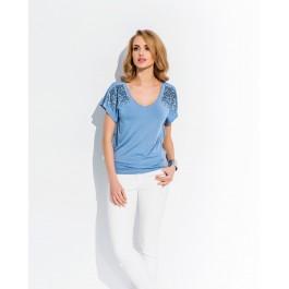 Top bleu à manches papillon et sequins
