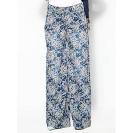 Pantalon en denim imprimé à fleurs
