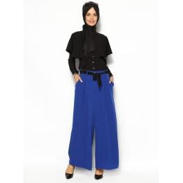 Pantalon bleu fluide à pinces avec lien à nouer