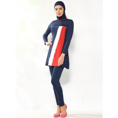 Maillot de bain hijab bleu à bandes rouge et blanche