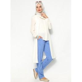 Pantalon fluide bleu avec poches