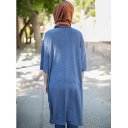 Pull tunique asymétrique manches 3/4 - bleu