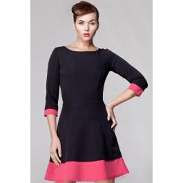 Robe bi-colore avec jupe évasée