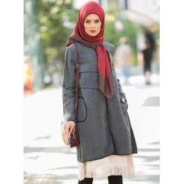 Manteau oversize bordures façon cuir