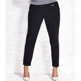 Pantalon city femme 7/8 avec revers - noir