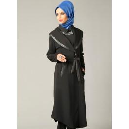 Manteau grand col bi-matière